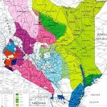 Karte von Kenia nach Sprachen und Dialekten