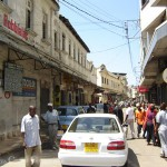 Busy narrow Street in Old Town Mombasa